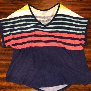 "Striped ""Slub"" Boat neck T-shirt"